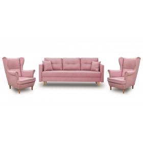 Zestaw Wypoczynkowy Sofa z Funkcją Spania + 2 Fotele Uszak - Pudrowy Róż