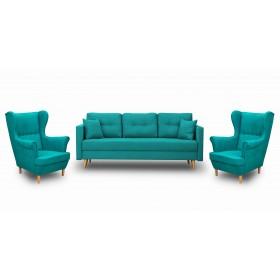 Zestaw Wypoczynkowy Sofa z Funkcją Spania + 2 Fotele Uszak - Turkusowy