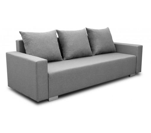Szara Sofa Rozkładana Burgos z funkcją spania z poduszkami do kuchni do salonu loft
