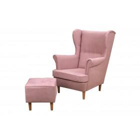 Zestaw Fotel Uszak z Podnóżkiem do Salonu Denver - Pudrowy Róż
