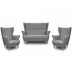Skandynawski Zestaw Wypoczynkowy Uszak Sofa + 2 Fotele Denver - Szary