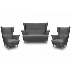 Skandynawski Zestaw Wypoczynkowy Uszak Sofa + 2 Fotele Denver