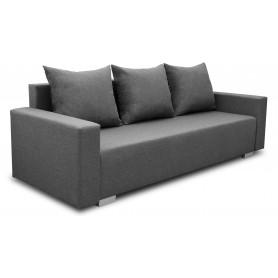 Grafitowa Sofa Rozkładana Burgos Plus sprężyny bonell z poduszkami trzyosobowa