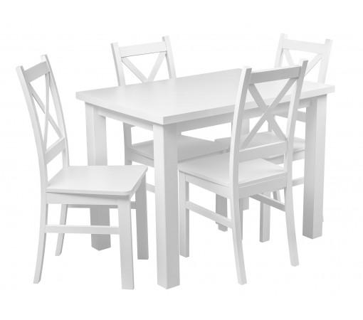 Stół 4 Krzesła Komplet Biały do kuchni i jadalni