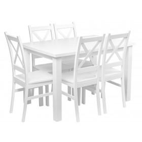 Stół Komplet 5 Krzeseł Biały do kuchni salonu jadalni