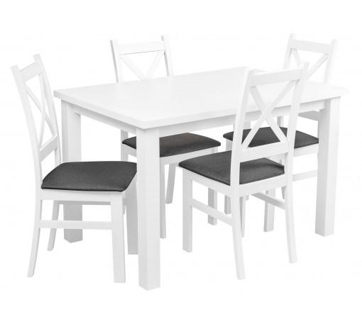 Biały Zestaw Stół Tapicerowane Krzesła krzyżak do kuchni salonu jadalni