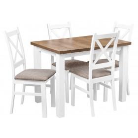 Zestaw Stół Krzesła Tapicerowane Brązowe do kuchni i jadalni i salonu
