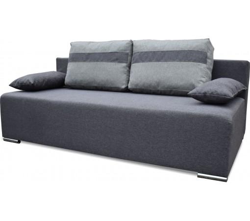 Szara sofa rozkładana z funkcją spania z poduszkami rozkładana do salonu do pokoju do jadalni