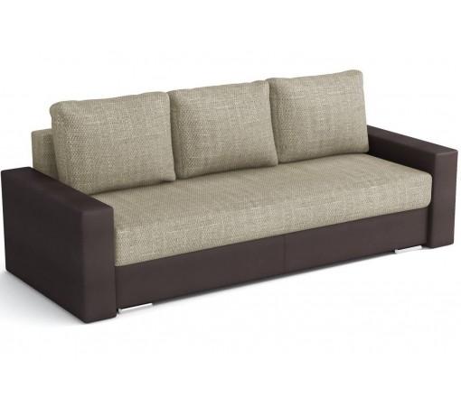 Kremowo Brązowa Sofa Klass Plus rozkładana z funkcją spania trzyosobowa