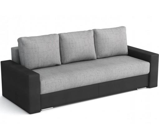 Czarno Srebrna Rozkładana Sofa z funkcją spania z podłokietnikami