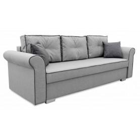 Szara Sofa Rozkładana Merida z funkcją spania na sprężynach bonell z poduszkami