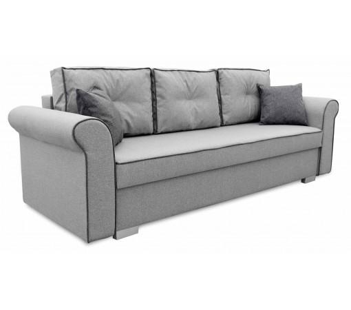 Szara Sofa Rozkładana Pele z poduszkami trzyosobowa do salonu