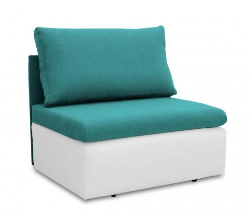 Jednoosobowa sofa fotel amerykanka rozkładana z funkcją spania mała niewielka Toledo  turkusowo biała