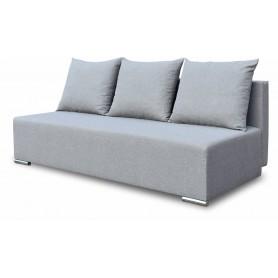 Szara sofa trzyosobowa rozkładana z funkcją spania do salonu z poduszkami Trio