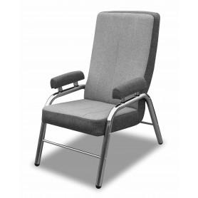Wygodny lekki metalowy fotel do salonu szary lile