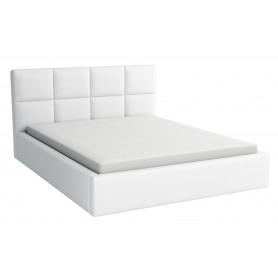 Dwuosobowe łóżko sypialniane z podnoszonym stelażem i pojemnikiem na pościel tapicerowane Alaska 140x200 z materacem białe