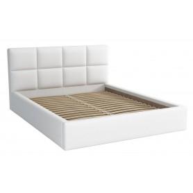 Dwuosobowe łóżko sypialniane ze stelażem tapicerowane do sypialni Alaska 140x200 białe