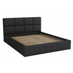 Dwuosobowe łóżko sypialniane ze stelażem tapicerowane do sypialni Alaska 140x200 czarne