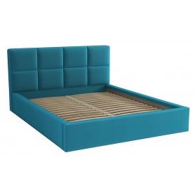 Dwuosobowe łóżko sypialniane ze stelażem tapicerowane do sypialni Alaska 140x200 turkusowe