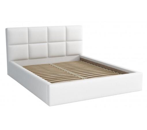 Łóżko sypialniane dwuosobowe tapicerowane ze stelażem Alaska 160x200 białe